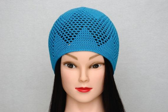 Blauer Hut Häkelspitze Spitze Hut häkeln Mütze Spitze Mütze