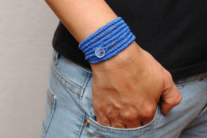 Outdoors gift Beauty gift for sister gift Blue bracelet Wrap image 1