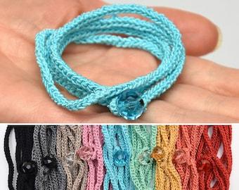 Wrap Crochet Bracelet Crochet Wrap Bracelet Black jewelry Pink bracelet handmade bracelet women Crochet Jewelry girlfriend gift idea for her