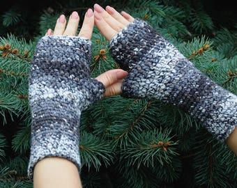 Outdoors gift boyfriend gift for husband gift for him Mens Fingerless Gloves Fingerless Mittens Mens Gloves Crochet Winter Gloves Mens gift