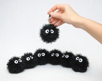 Plush black ball kids gift for her Crochet toy Keyring anime inspired Bag charm Amigurumi Stuff toy Plushie kawaii keychain stuffed animal