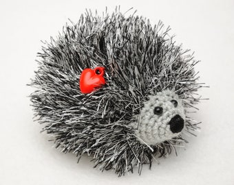 inspirational kids gift for Girlfriend gift for her Crochet hedgehog Heart Plush toy Kids Stuff Toy Stuffed Animal pet Amigurumi miniature