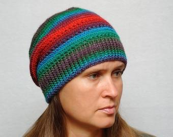 Slouchy hat Crochet hat Outdoors gift for Women beanies womens slouchy beanie women Bright Winter hat hippie hat sister gift for best friend