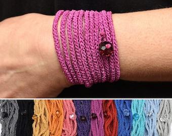 Long Wrap bracelet Crochet Boho bracelet Bohemian bracelet Wrap Crochet bracelet Boho jewelry Sister gift for wife gift for girlfriend gift