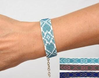 Beaded bracelet seed beads bracelet beaded jewelry beadwork bead loom bracelet hearts blue gray pattern hippie gift sister gift girlfriend