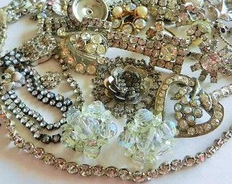 Vintage crystal & rhinestone, embellishments, decorations, gems, brooches, earrings, Jewelry