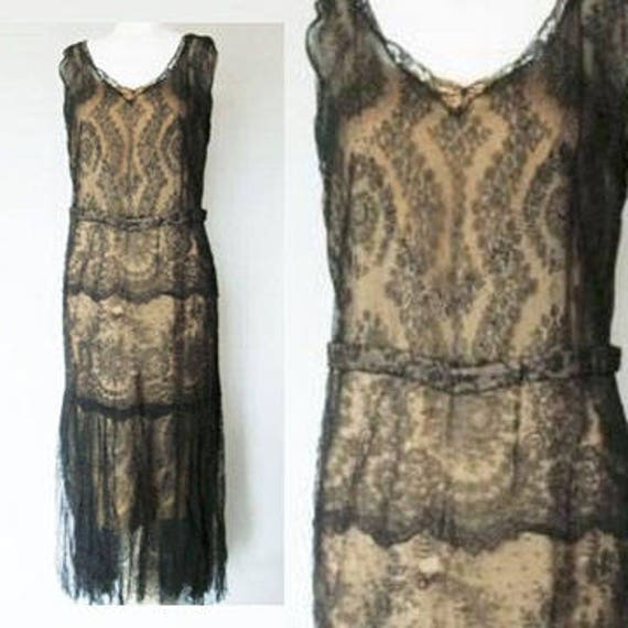 Flappers Dress  Late 1920s Chantilly Lace Evening