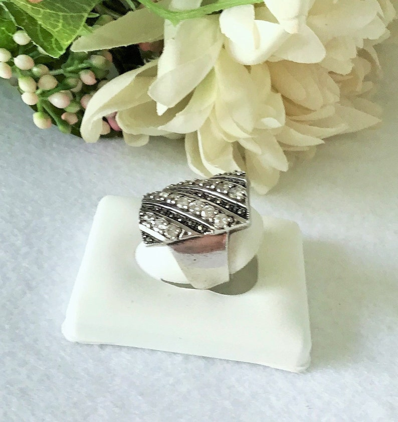 Sterling silver Marcasite And White Zircon Cocktail Ring