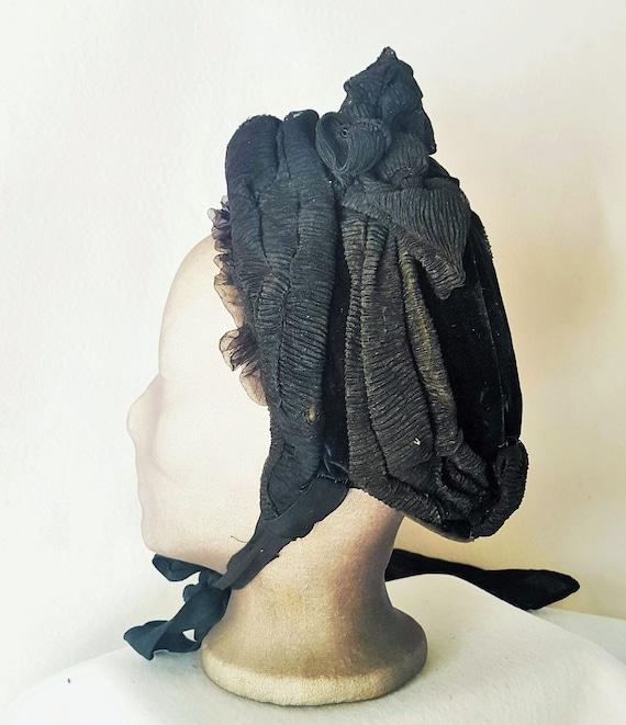 Bonnet Hat Victorian  Edwardian Mourning Bonnet