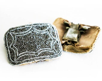 French Shoe Clips Vintage Seed Beaded Shoe Buckles