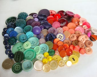 114 Buttons, Vintage Plastic Buttons, Green, Yellow, Purple, Pink, Red Shades Assorted sizes