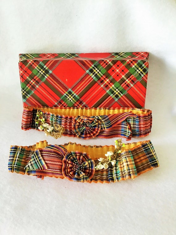 Garters Ribbon Work Authentic 1920s Pair of  Flapp