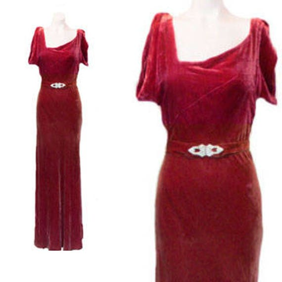 Gown 1930's Silk Bias Cut Velvet Dress, Cranberry