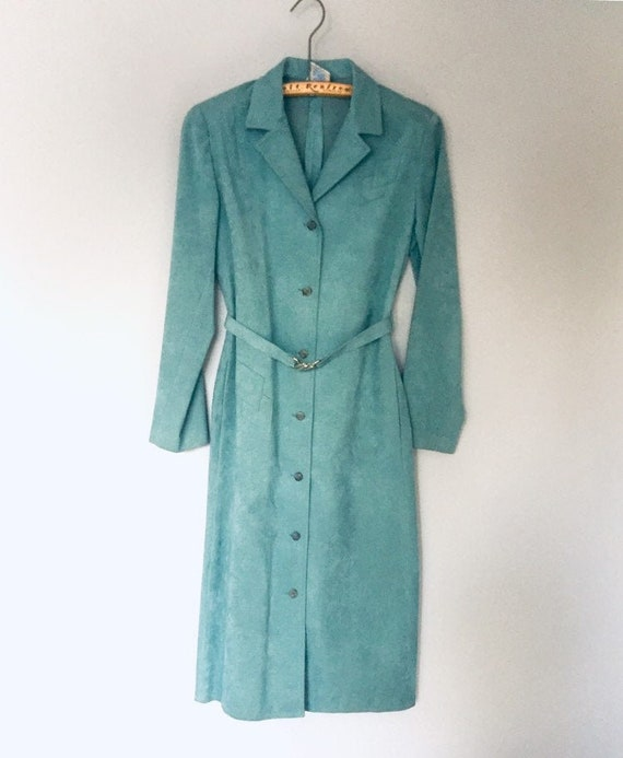 Soft Suede Leather Turquoise Duster Jacket