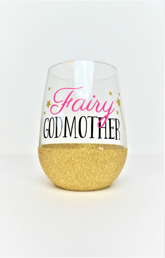 Wine glass glitter dipped with Fairy and Name