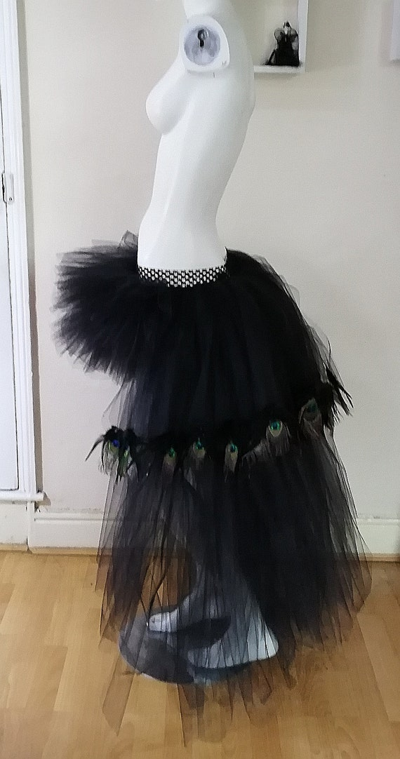 Available in Teenage Adult Plus Sizes Black Low High Layered Tutu Peacock Feathers Turkey Feathers Wedding Prom Photo Shoot Festival