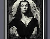 Vampira Fan Art  B&W A3 P...