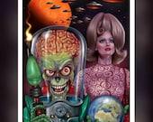 Mars Attacks  Movie - Tim Burton - Lady Marsha Dale -  Martians -  Fan Art -  A5 Size Greeting Card