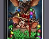 Gremlins - Gizmo - Mogwai - Christmas Lights - Fan Art -  A3 Art Print