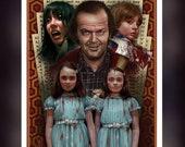 The Shining 1980 Movie -Jack - Wendy - Danny - Grady Twins - Fan Art - A 5 Size Greeting Card