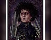 Edward Scissorhand's - Johnny Depp - Movie Fan Art -  A5 Size Greeting Card