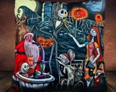 The Nightmare Before Christmas - Jack Skellington - Dr Fankenstein -Sally - Santa Claus -Tim Burton - Soft Plush Cushion Cover