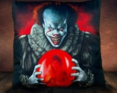 Pennywise clown 2017 - IT - Georgie - Red Balloon -Soft Plush Cushion Cover