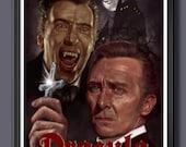 Hammer Horror Dracula 1958 -Peter Cushing - Christopher Lee -  Fan Art-  A3 Print