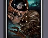 Alien 1979 Movie Sigourney Weaver - Ellen Ripley - Alien - Fan Art -  A2 Size Poster Art Print