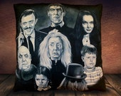 The Addams Family TV- Series 1964  Morticia, Fester, Lurch, Wednesday, Grandma,  Pugsley, Gomez   Fan Art -Soft To Touch Plush Cushion Cover