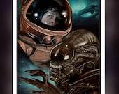 Aliens 1979 Movie Sigourney Weaver - Ripley Alien - Fan Art - A5 Size Greeting Card