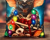 Gremlins - Gizmo - In Box - Christmas Lights- Soft Plush Cushion Cover