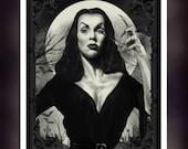 Vampira- Maila Nurmi  B & W - A5 Size Greeting Card