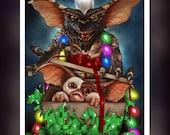 Gremlins - Gizmo - Mogwai - Chistmas Present - Fan Art - A5 Size Greeting Card
