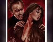 Dracula AD 1972 Christopher Lee Caroline Munroe -  A5 Size Greeting Card