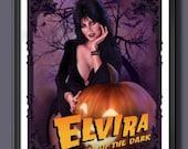 Elvira - Mistress Of The Dark - Pumpkin - Fan Art- A2 Print