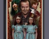 The Shining 1980 Movie - Jack - Wendy -Danny- Grady Twins - Fan Art -  A3 Art Print