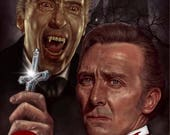 Dracula Montage Peter Cushing - Christopher Lee - A5 Size Greeting Card