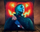 Halloween Michael Myers - Pumpkin - Fan Art -Soft To Touch Plush Cushion Cover