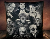 Universal Monsters- Dracula- Frankenstein-Frankenstein's Bride- Phantom- Mummy- Wolfman- Gill-Man- Invisible-Man - Soft Plush Cushion Cover
