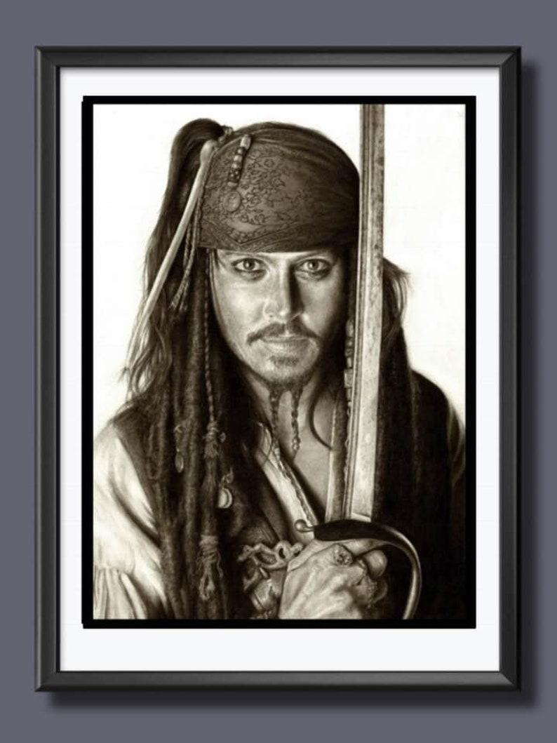 Jack Sparrow  Johnny Depp  Pencil Drawing A3 Size Print image 0