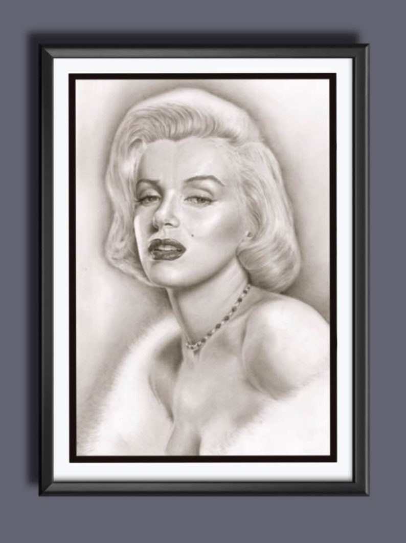 Marilyn Monroe  Norma Jeane Mortenson  Pencil Drawing  A3 image 0