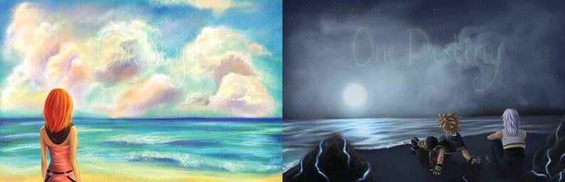 Kingdom Hearts Kairi Sora and Riku One Sky One Destiny Beach image 0