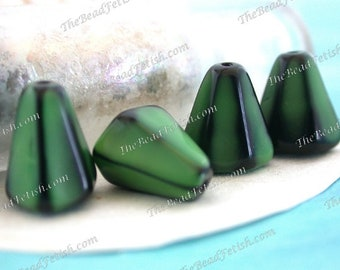 Vintage Glass Beads, Vintage West German Two-Tone Opaque Green & Black Pressed Glass Faceted Flattened Cone Beads VB-347