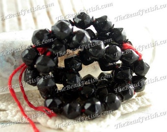 Antique Hollow Hand Blown Glass Beads, 6 x 5mm Vintage Shiny Jet Black Hollow Glass Beads, Collectible Rare Black Victorian Beads VB-232