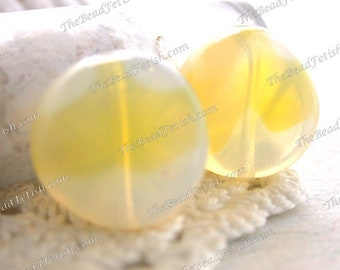 Vintage West German Lemon Yellow & Crystal Opal Givre' Glass Beads, Two-Toned Pressed Glass Vintage Beads, Vintage Yellow Glass VB-202