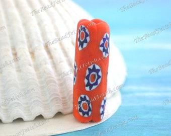 Vintage 1970's Venetian Dark Orange Millefiori Hand Made Italian Glass Beads, Vintage Venetian Orange White Glass Beads  VB-269