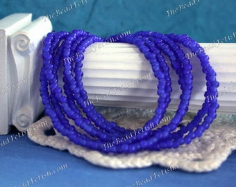 Vintage White Heart Beads, Handcrafted Vintage French Sapphire Blue White Hearts, 11/0 Vintage Blue Seed Beads, Vintage Trade Beads VB-011