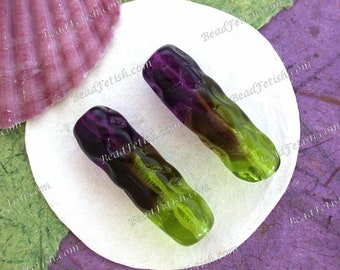 Vintage Art Glass Beads, 30mm Vintage Two-Toned Amethyst and Peridot Pressed Glass Beads, Vintage Purple and Green Glass Beads VB-021