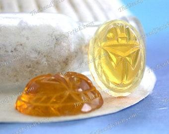 Antique Glass Scarab Cabochons, 18 x 13mm Antique Topaz Pressed 'Gem Glass' Scarab Cabochon, Vintage Egyptian Revival Glass Cabochons VB-453